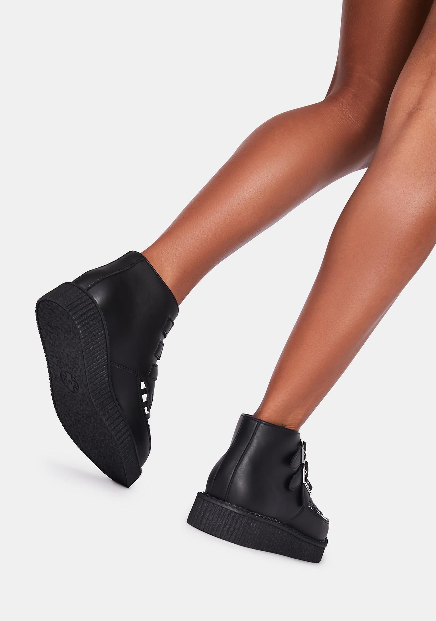 T.U.K. Black & White Stripe 3-Buckle Pointed Boots