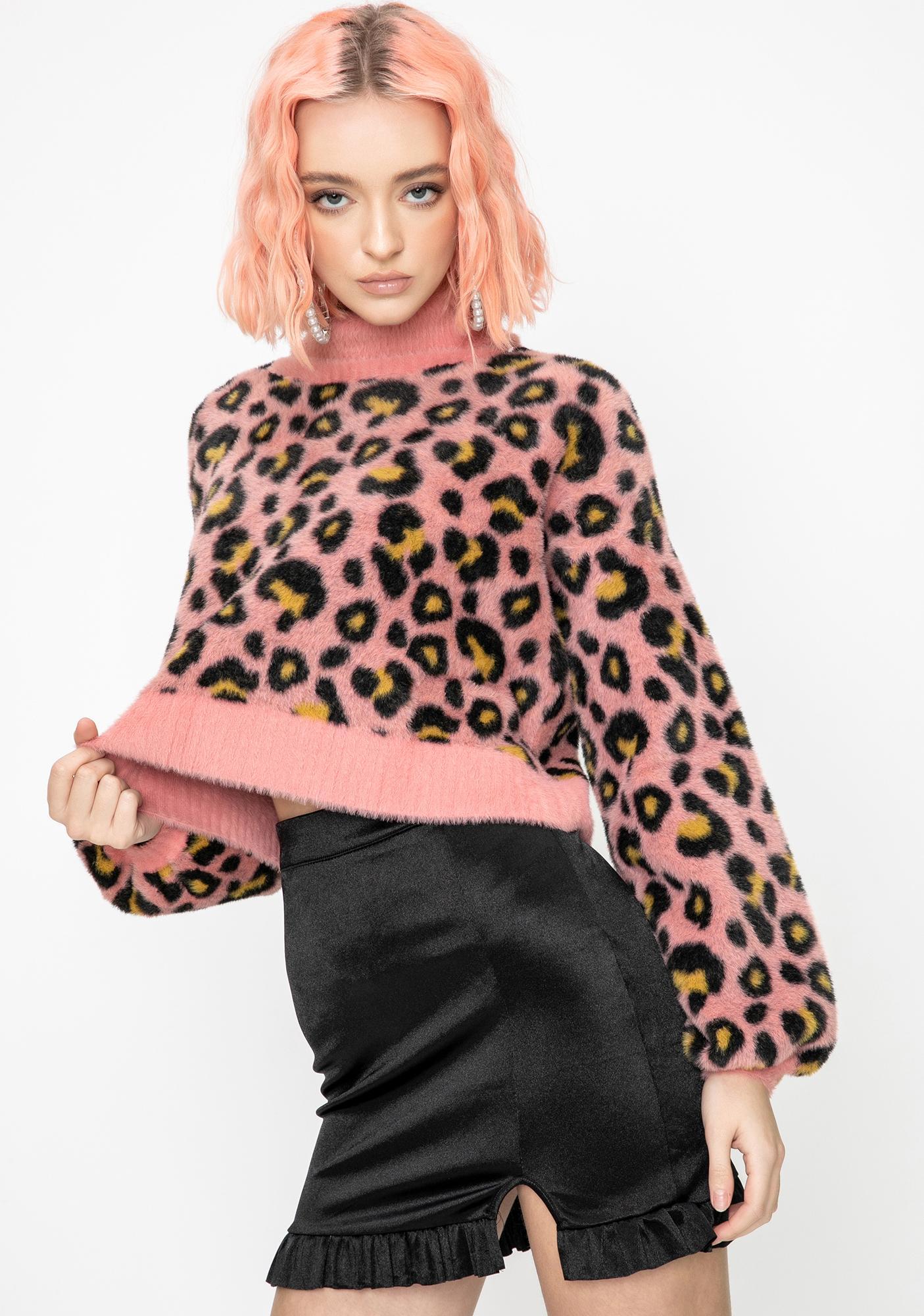For Love & Lemons Angelina Leopard Turtleneck Sweater