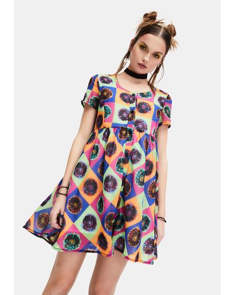 Neo-Psychedelic Chiffon Babydoll Dress
