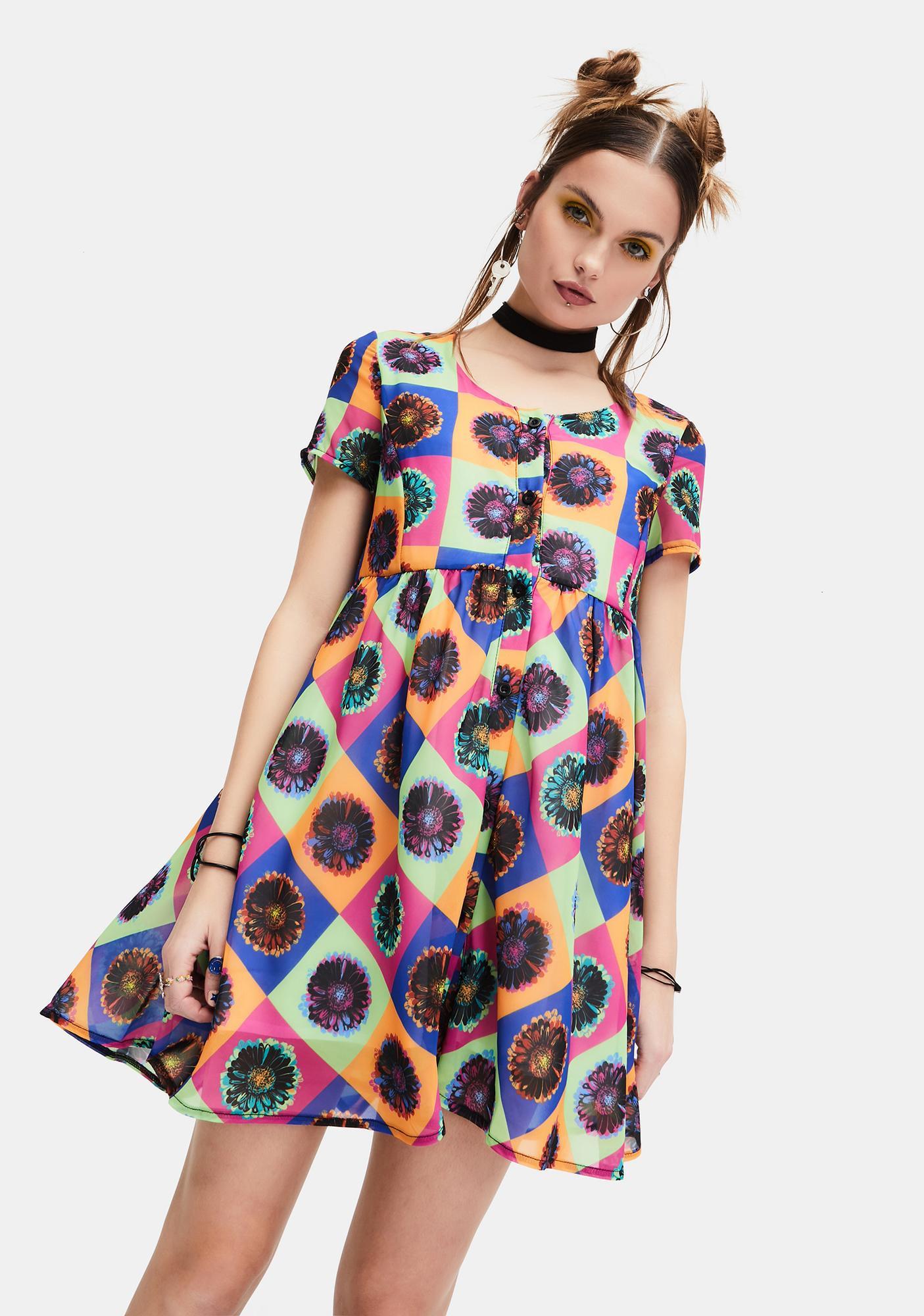 dELiA*s by Dolls Kill Neo-Psychedelic Chiffon Babydoll Dress