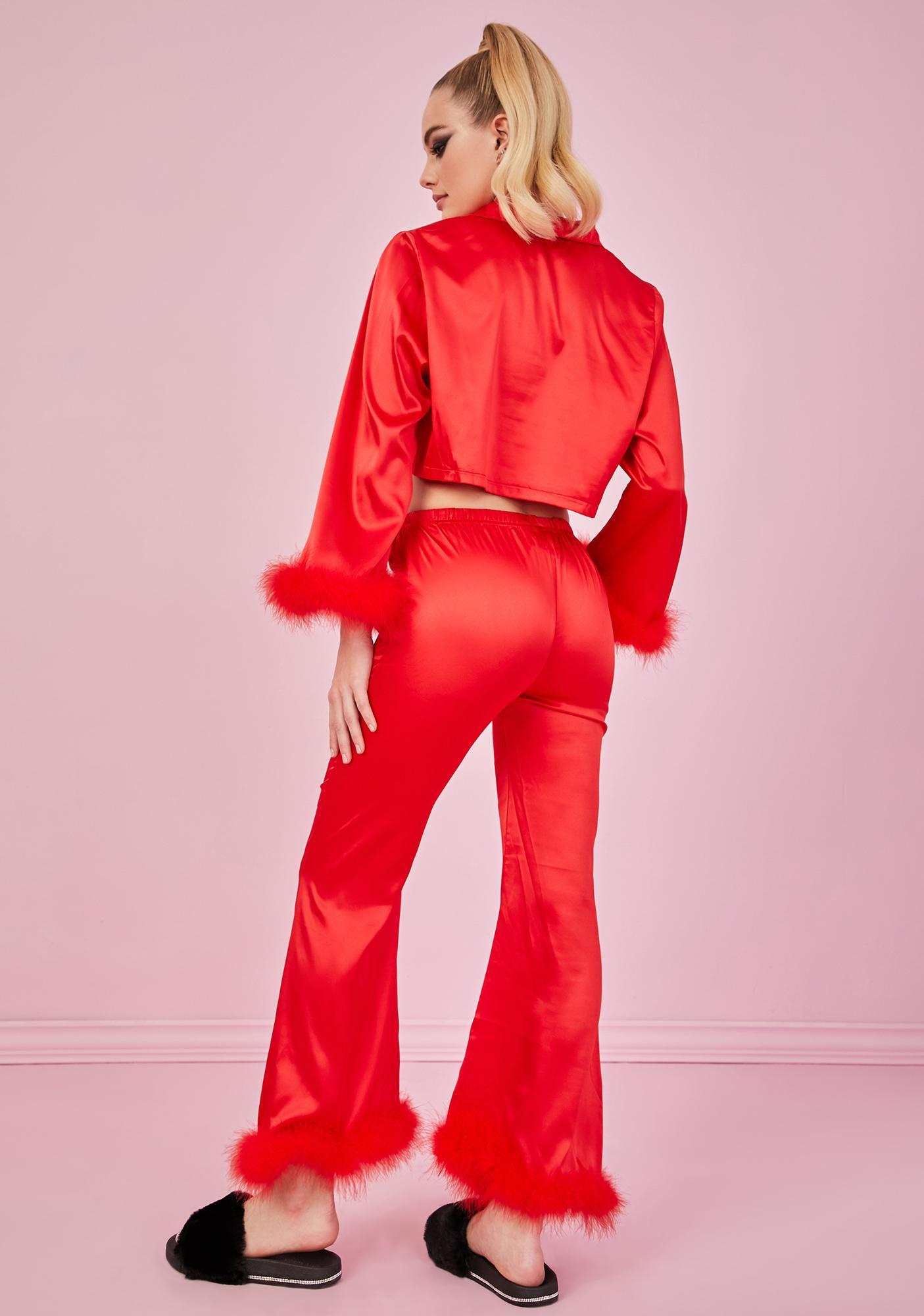 Sugar Thrillz Crimson Lover's Quarrel Satin Pajama Bottoms