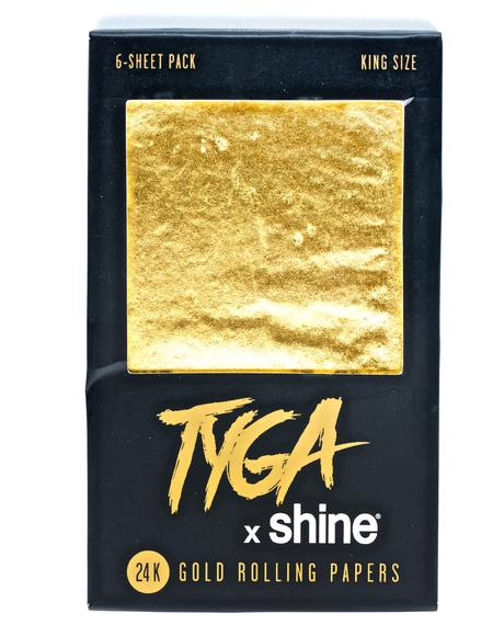 24K Gold King Size Rolling Papers 6-Sheet Pack
