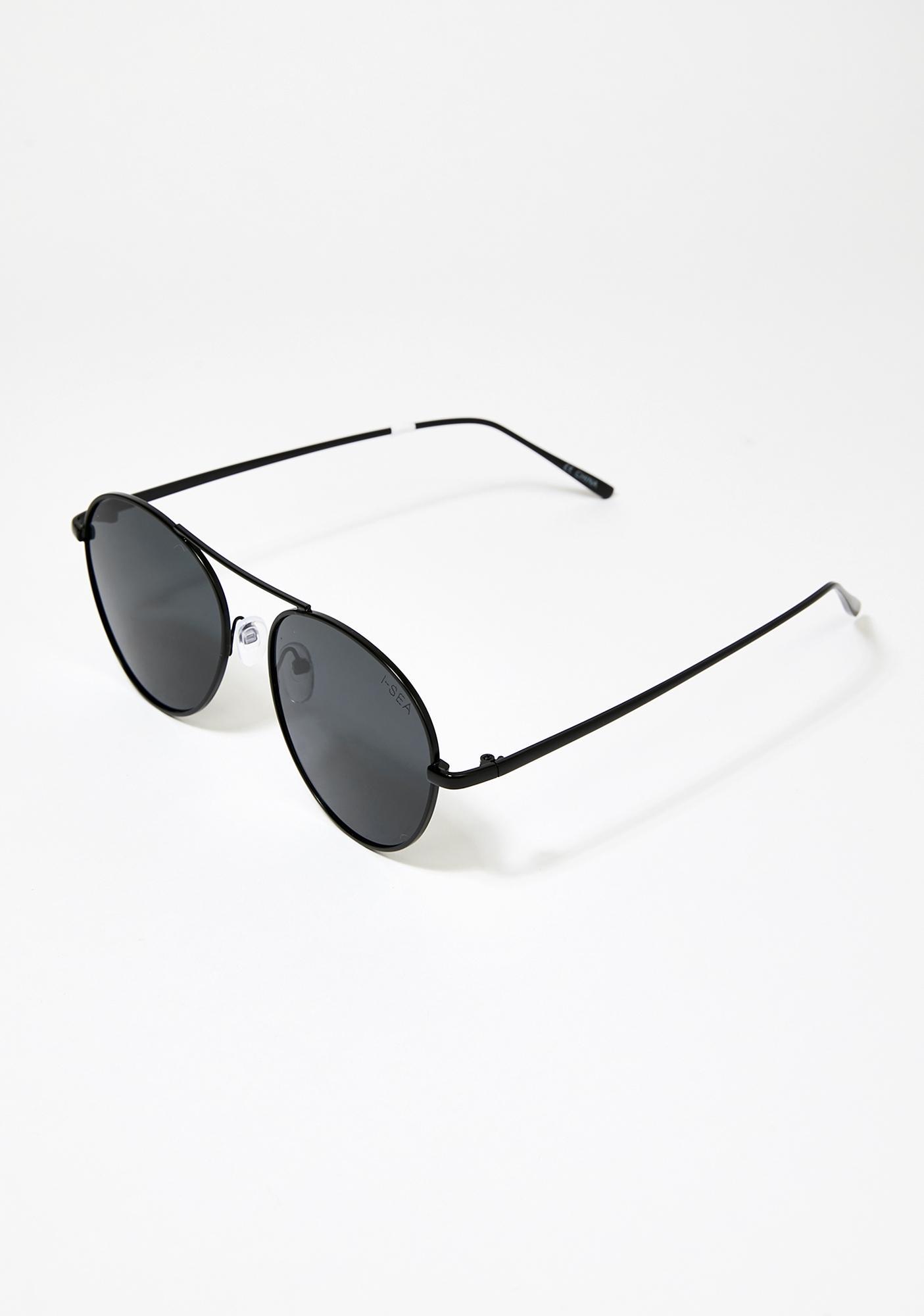 I-SEA Black Smoke Ahoy Aviator Sunglasses