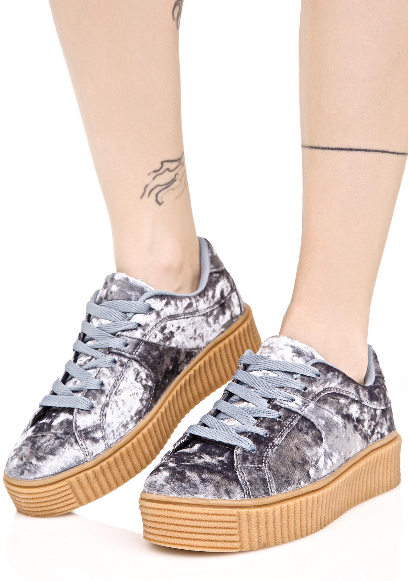 Crushed Blue Velvet Creeper Sneakers