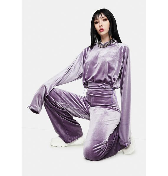 ZNY x Masha Tsigal Purple Cropped Hoodie