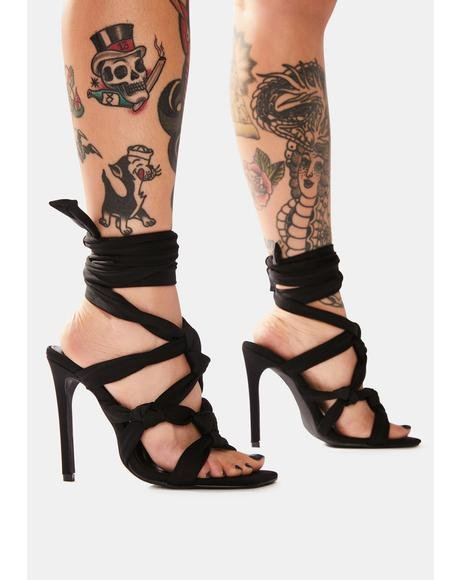 Black Convo Knotted Lace Up Stiletto Heels