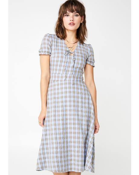 Check Print Midi Dress