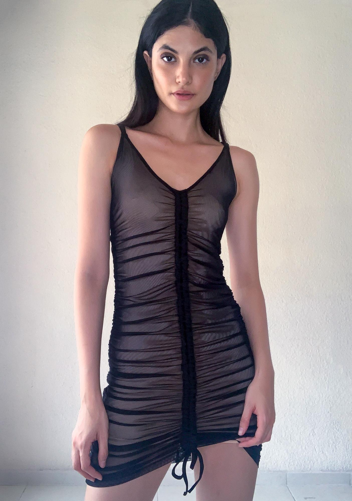 Poster Grl Baddie Swipe Right Mesh Dress