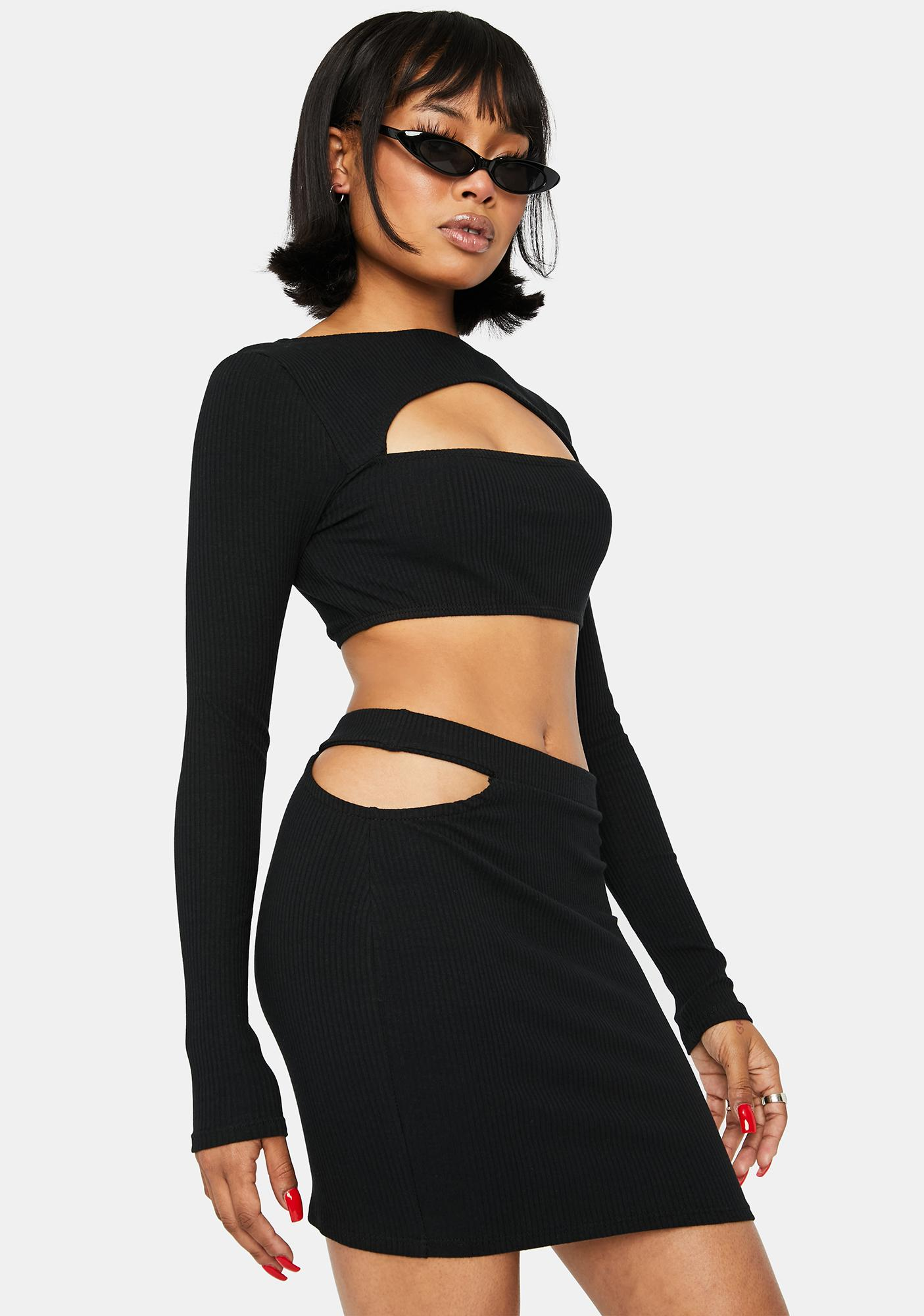 On Your Timeline Cut-Out Skirt Set