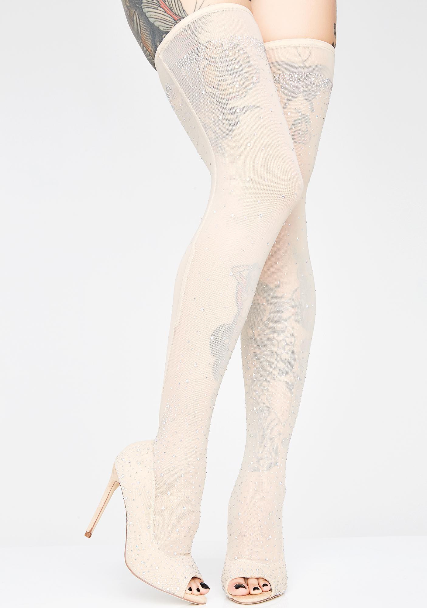 0b5d8faa342 Nude Panty Hose Rhinestone Heels