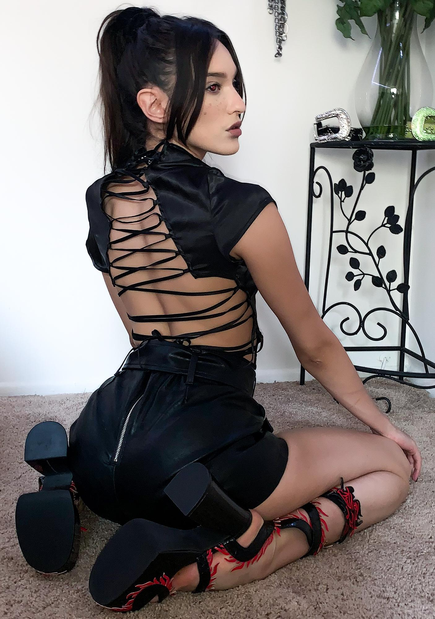 Current Mood Dark Matter Lace Up Top