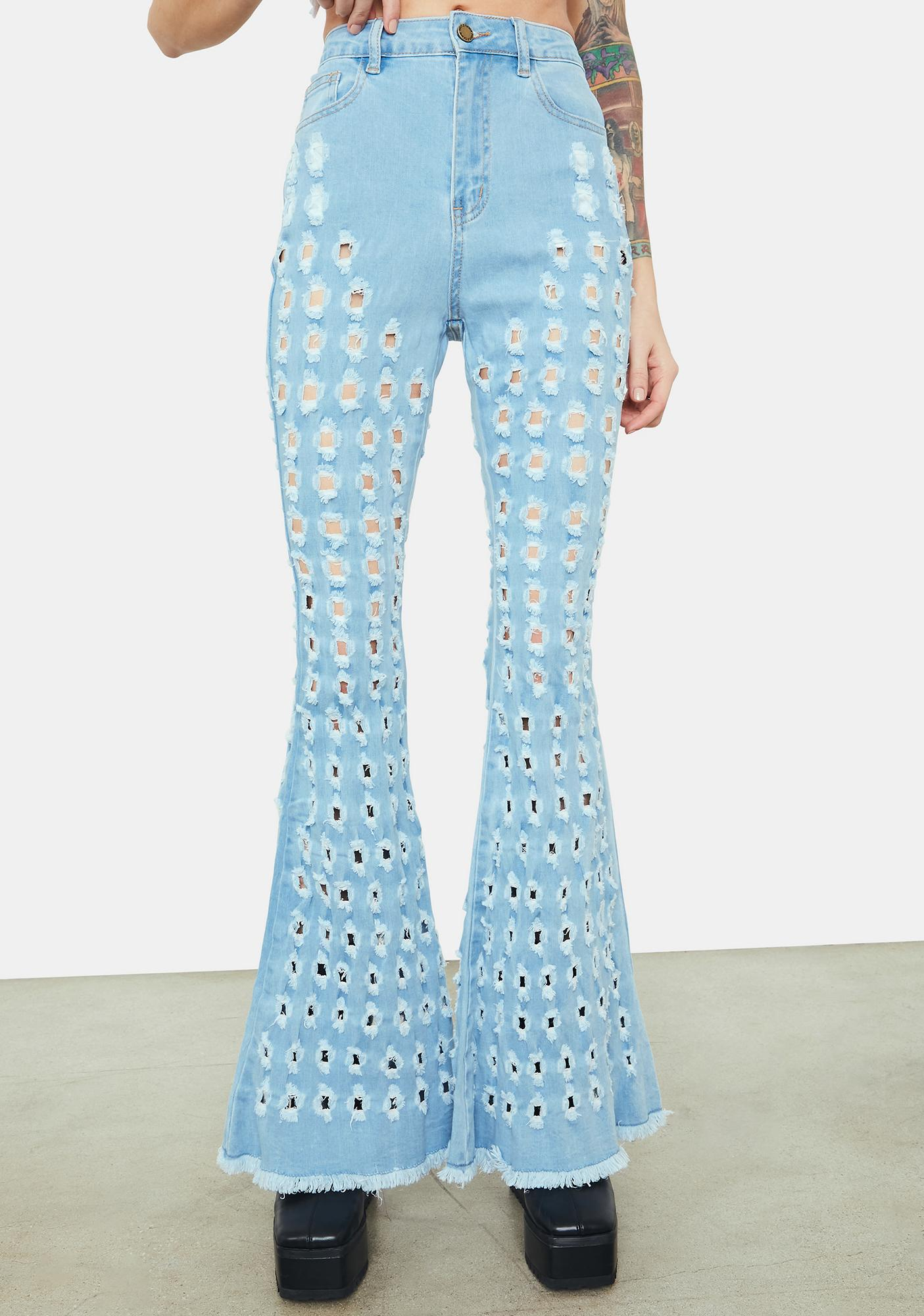 Sky Breaking Point Distressed Circles Flared Jeans