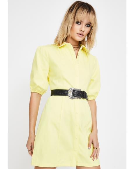 Yellow Button Up Shirt Dress