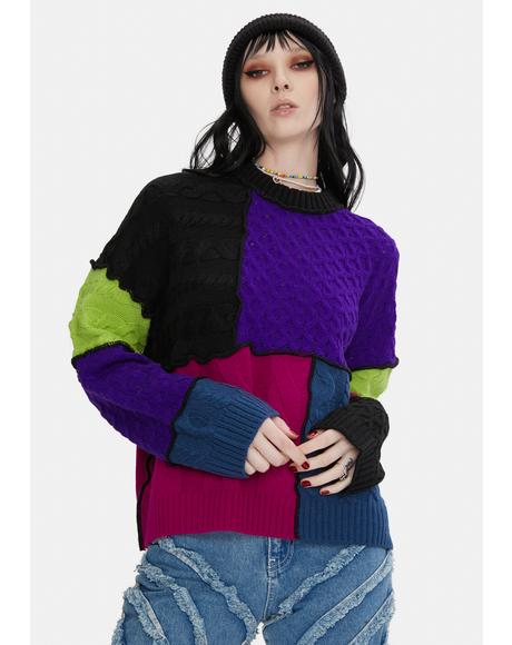 Crush Patchwork Knit Sweater