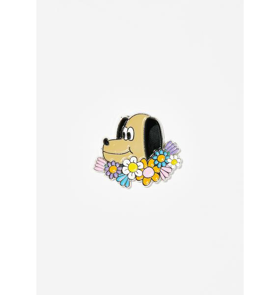 Lazy Oaf Flower Pup Pin Badge