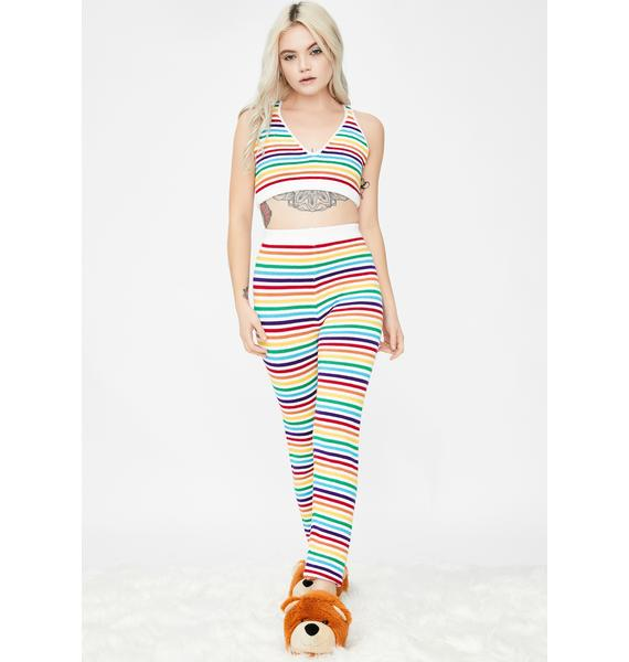 Knitty Kitty Rainbow Stripes Knit Leggings