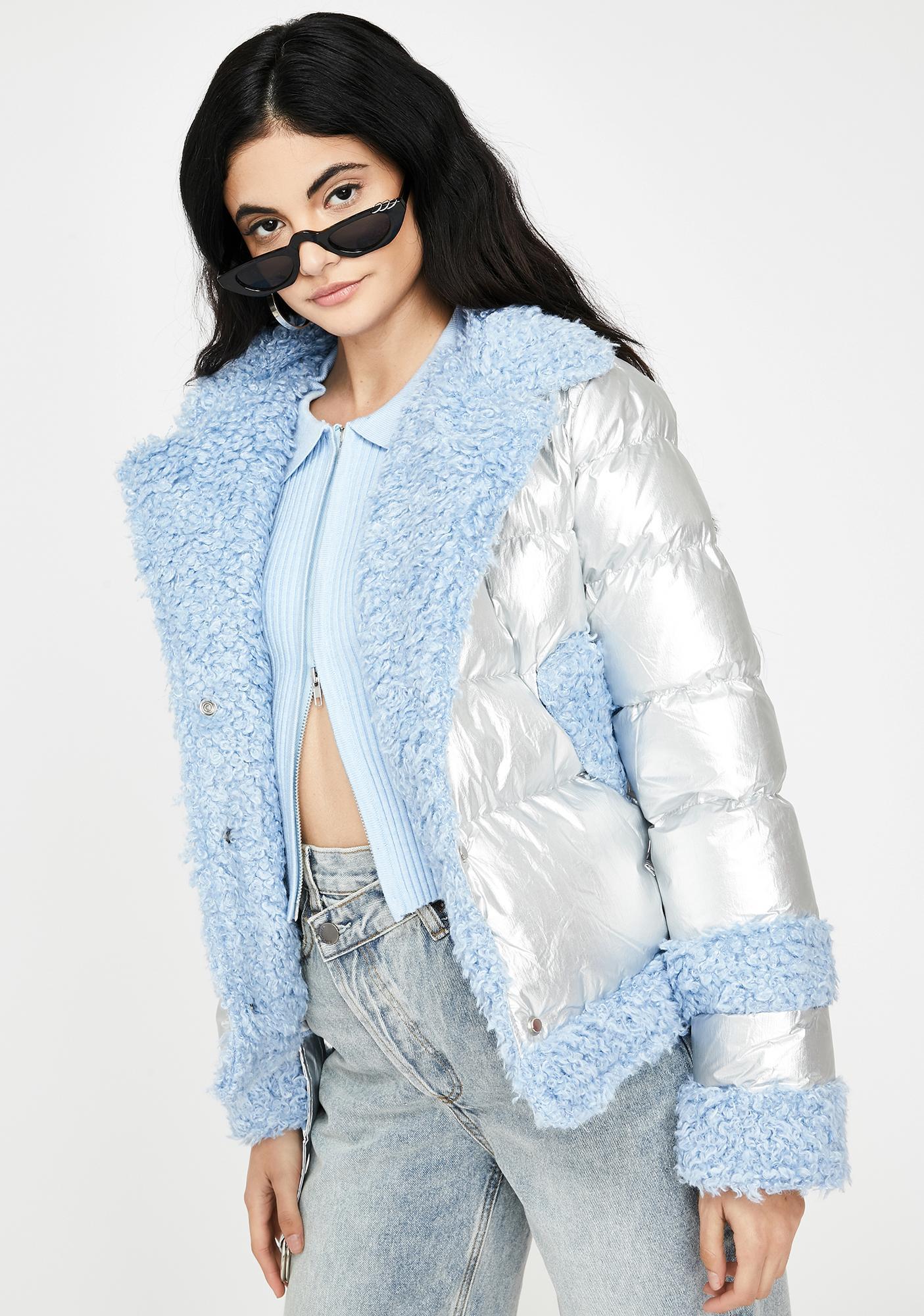 ZEMETA Metallic Fuzzy Puffer Jacket