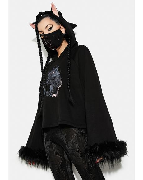 Cat Print Loose Fit Velvet Hoodie