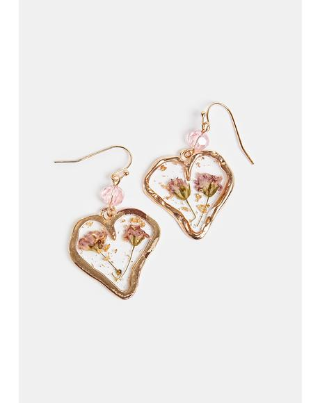Bestest Buds Resin Heart Earrings