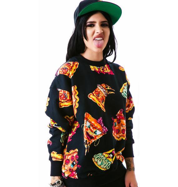 Joyrich Pizza Pie Face Crew Pullover Sweatshirt