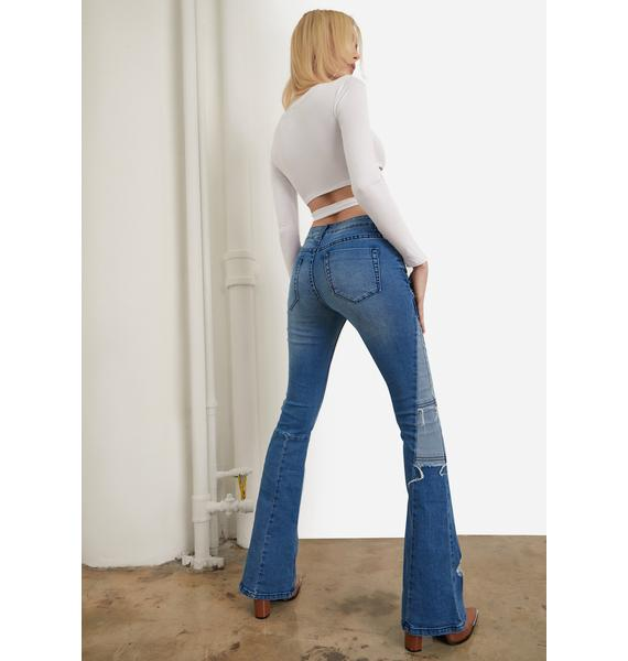 Make It Last Bootcut Patchwork Jeans