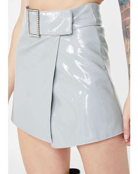 Patent Crystal Buckle Wrap Skirt
