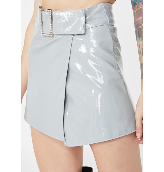My Mum Made It Patent Crystal Buckle Wrap Skirt