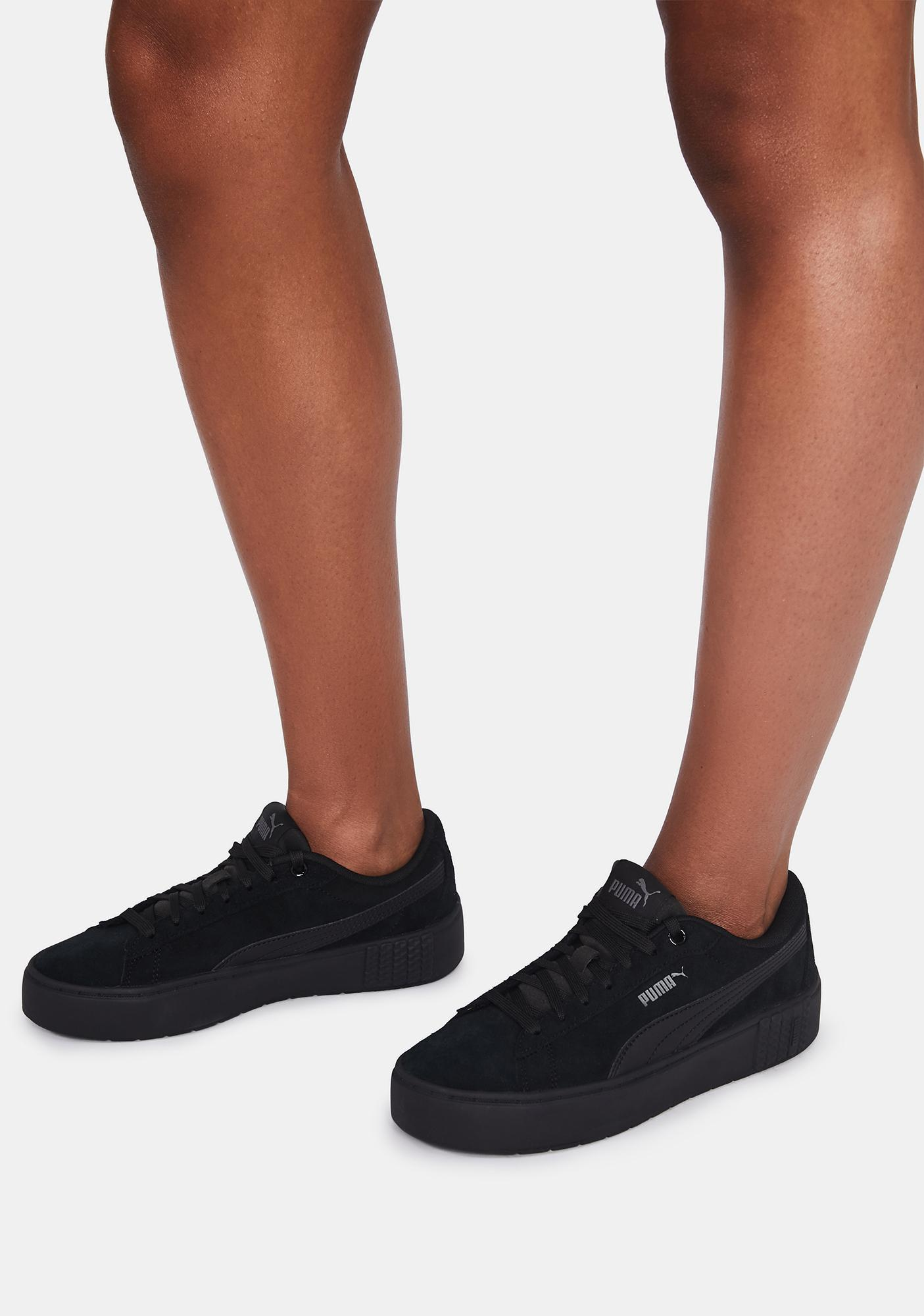 PUMA Black Smash Platform V2 Leather Sneakers