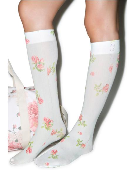 Vintage Rose Knee High Sox