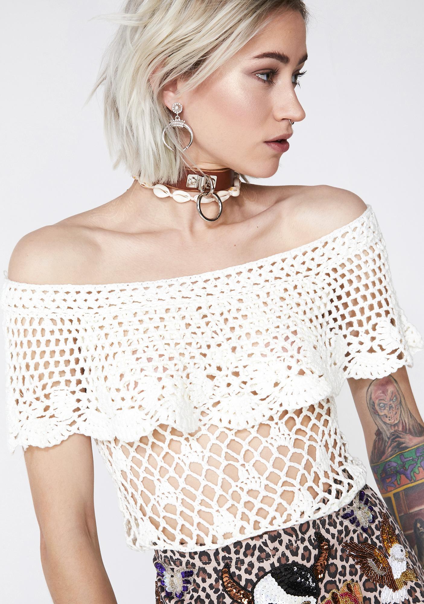 105be513858 White Crochet Off Shoulder Top | Dolls Kill