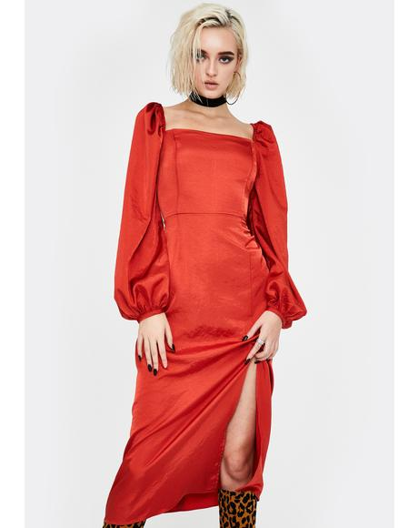 Rust Puff Sleeve Midi Dress