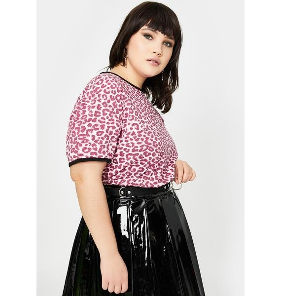 Lazy Oaf Plus Pink Leopard Fitted Tee