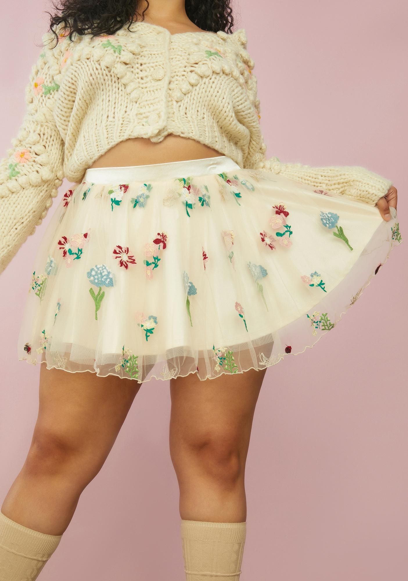 Sugar Thrillz Our Enchanted Meadow Floral Tulle Skirt