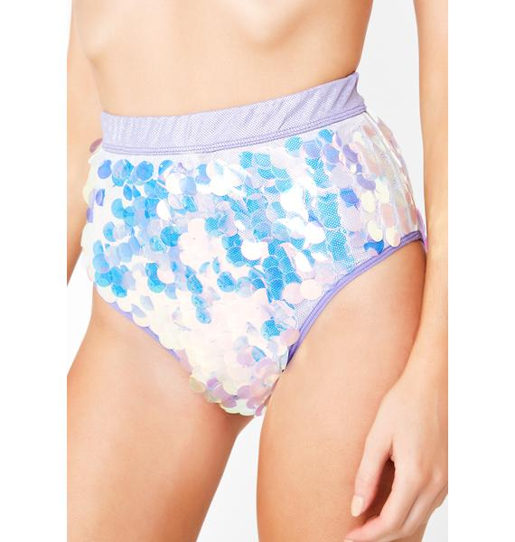 Club Exx Galactic Sunshine Sequin Booty Shorts