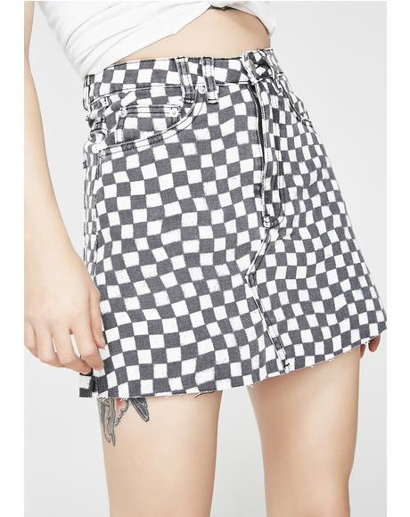 Sasha A-Line Checkered Skirt