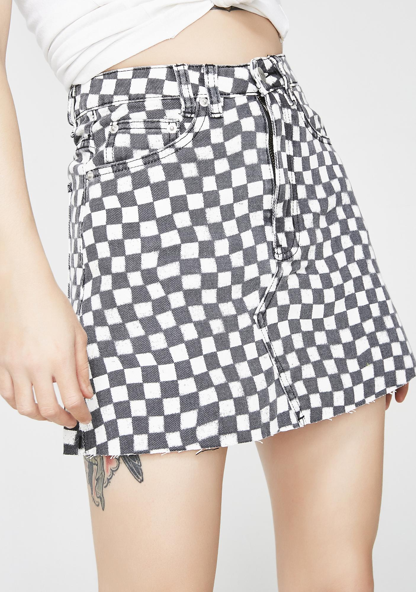 Insight Sasha A-Line Checkered Skirt
