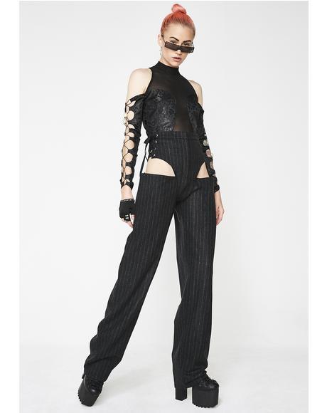 Pinstripe Wool Panty Trouser