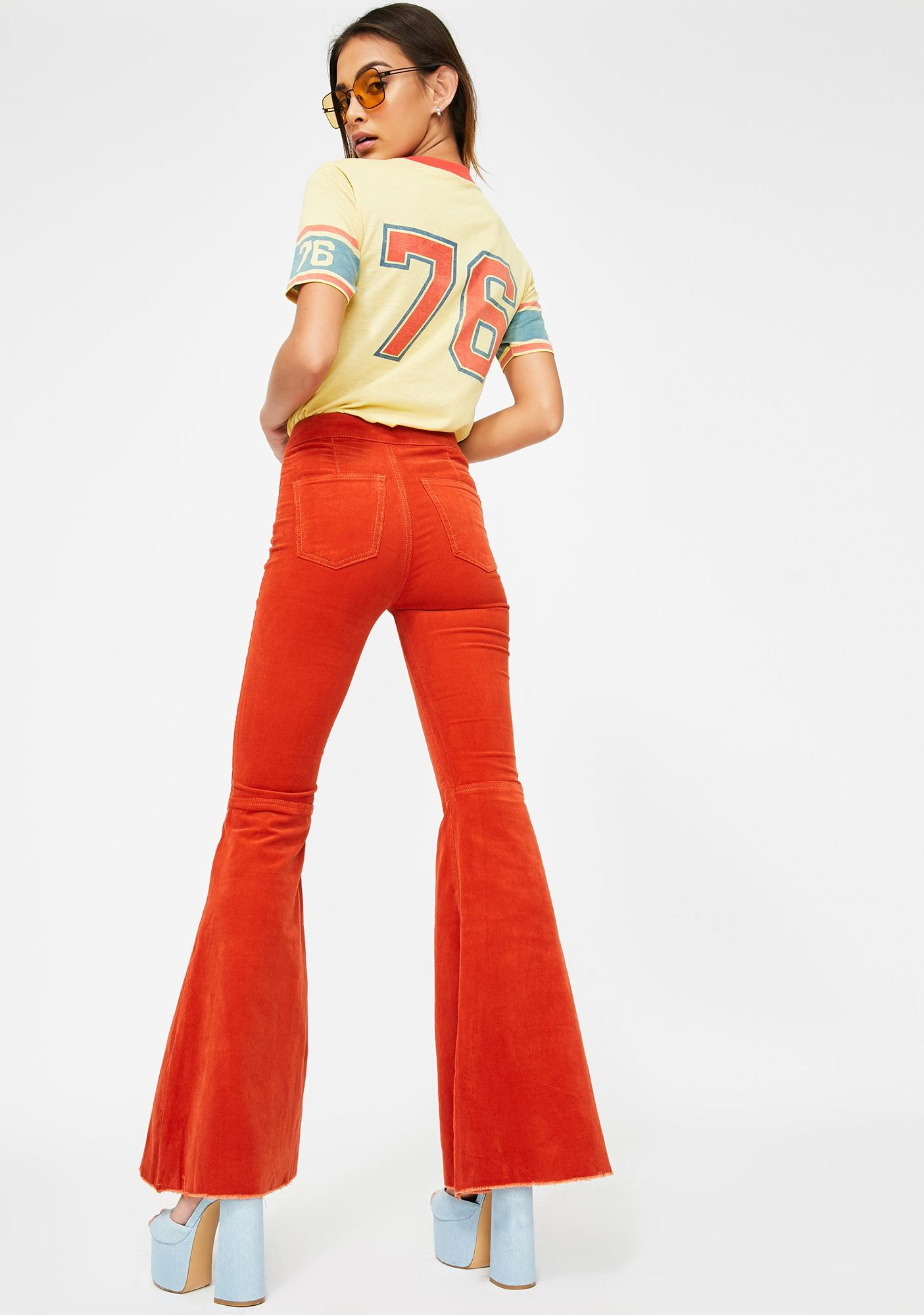 Momokrom Orange Mermaid Flare Corduroy Pants