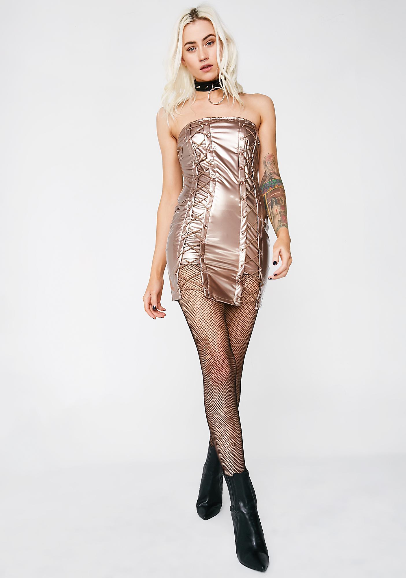 Rose Gold Come N' Get Me Vinyl Dress
