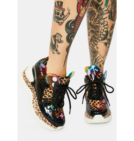 Anthony Wang Leopard Raisin 2 Chunky Wedge Sneakers