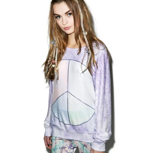 Wildfox Couture Peace & Tie Dye Beach Baggy Jumper