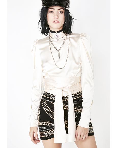 Pearl Art Gala Goddess Tie Blouse