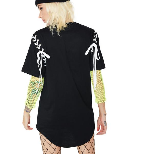 Current Mood Payback Time Lace-Up Graphic Tee