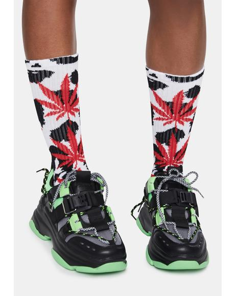White Animal Style Crew Socks