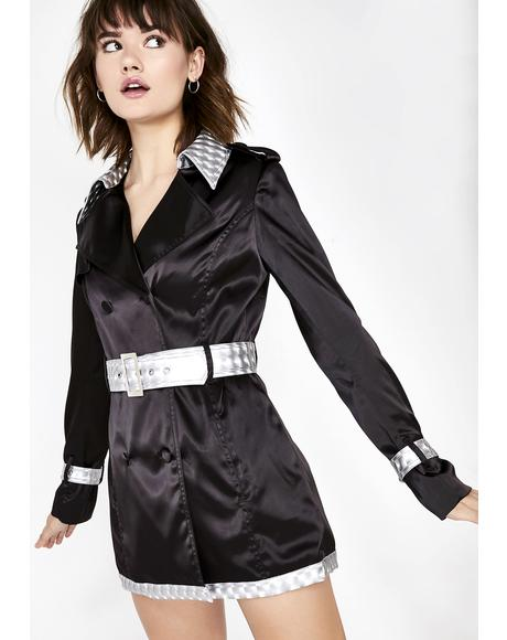 Digital Get Down Satin Trench Coat