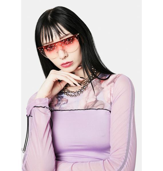 Ruby Glam Speed Ahead Pearl Aviator Sunglasses