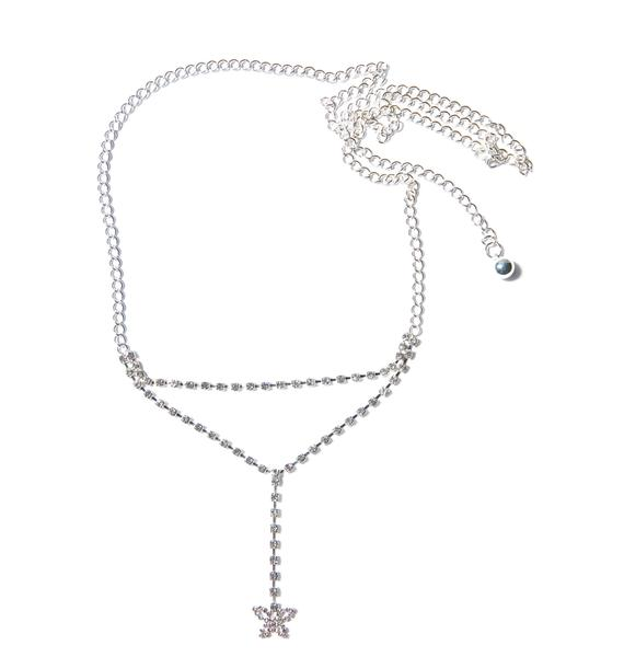 B'fly Low Back Rhinestone Belly Chain