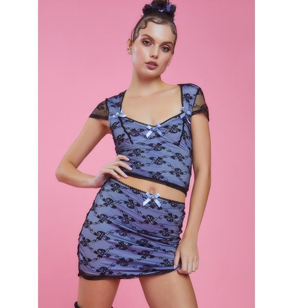 Sugar Thrillz Royal Portrait Mode Lace Mini Skirt