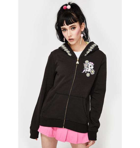 Tokidoki Flower Power Zip Up Hoodie Sweatshirt