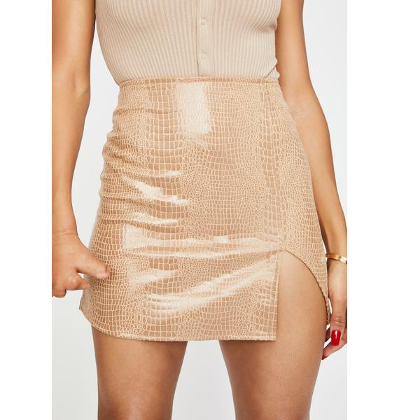 Motel Tan Snake Wren Mini Skirt
